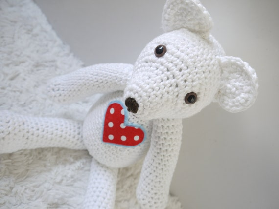 Amigurumi Baby Shower Bears : Large White Amigurumi Crochet Teddy Bear. Perfect Baby shower