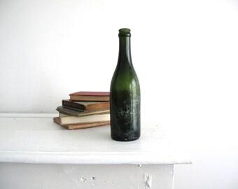 Antique Green Glass Bottle - Green Glass Vase - Tall Stem Vase