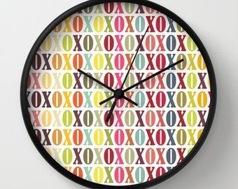 XOXO Wall Clock - XOXO Multicolor Wall Clock - White Ombre - Original Design - Home decor by Adidit
