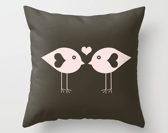 Throw Pillow Cover Love Birds - Brown Charcoal Pink - 16x16, 18x18, 20x20 - Nursery Bedroom Original Design Home Décor by Adidit