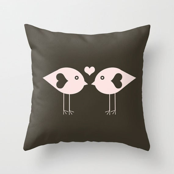 Throw Pillow Cover Love Birds Brown Charcoal Pink 16x16
