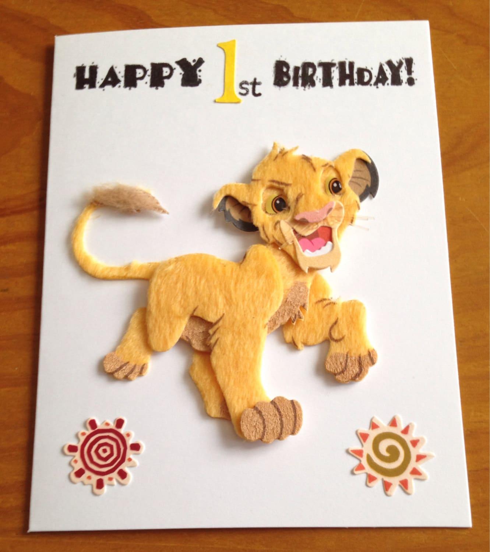 Simba lion king 1st Birthday card – Lion King Birthday Card