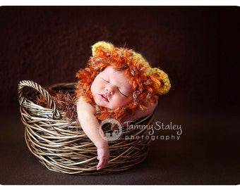 Lion hat with tassels Newborn size perfect for photo prop FREE SHIPPING