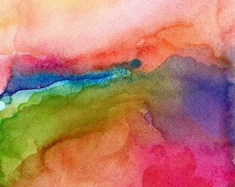 Abstract Art Print, Watercolor Painting, Refresh