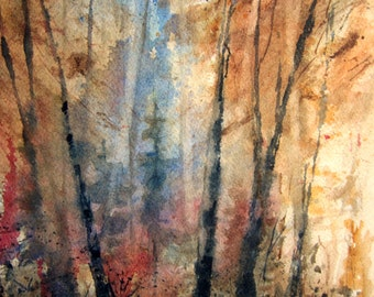 Landscape, Print of Original Watercolor Autumn Landscape Painting, watercolor art, forest painting, tree art, autumn woods, fall painting.