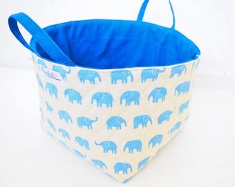 Large Fabric Storage Box / Fabric Basket / Tote Bag - Blue Elephant