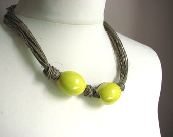 Sweet Lemons - linen necklace