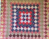 Reserved for Lisa ~Antique Vintage1950's Quilt TRIP AROUND the WORLD Block Design Sweet