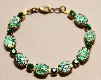 Vintage Emerald Gree Fire Opal Bracelet,Green Fire Opal,Harelquin Opal, RARE Color,Vintage Rhinestone Tennis Bracelet,Gift,Opal Jewelry