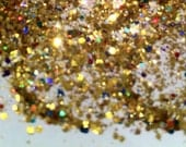 Gold holo mix with coloured circle dot  mix  solvent resistant glitter mix 1/2 oz