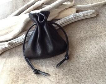 Men's Bag Leather Drawstring Pouch