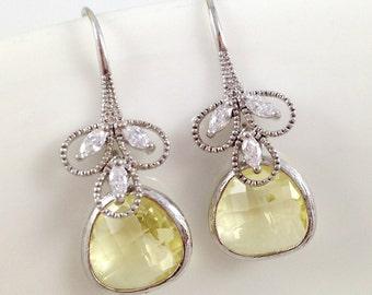 Light Yellow Earrings - Sparkling Cubic Zirconia Jonquil Earrings Valentine Gift Under 20