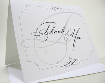 Thank You Note Card Elegant Black White Blank Note Card Wedding Thank You Custom Personalized Card