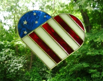 I Love The USA-  Heart/ Flag Stained Glass Sun Catcher