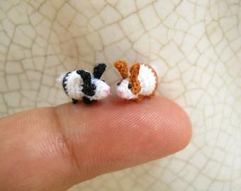 Miniature Bunny Rabbit Amigurumi - Micro Crochet Tiny Stuff Animals - Set of 2 Rabbits - Made To Order