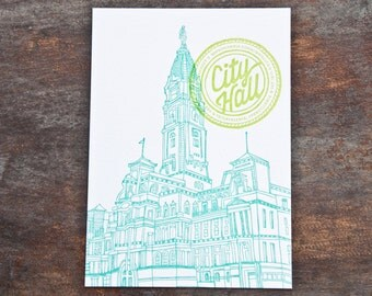 Philadelphia City Hall Letterpress Print