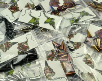Czech glass 7mm x 17mm Magic Spike Beads - packet of 12 beads
