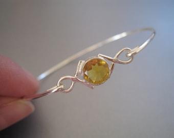 CITRINE CRISSCROSS gemstone bangle bracelet