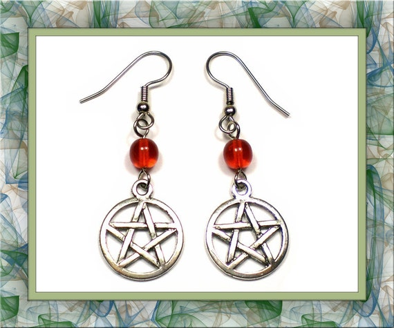 Red Wiccan Pentacle Earrings (Clip-On by Request)
