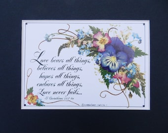 Friend Gift. Encouragement Scripture Gift. Love Scripture. Repro Pressed Flowers Matted. Pansy Roses. Wedding Gift