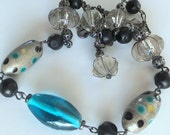 SALE ~~Glass Bead Necklace, Smoky Quartz Teal Blue Boho Gunmetal Necklace, FREE SHIPPING