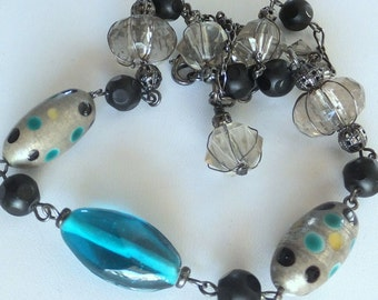 SALE ~~Glass Bead Necklace, Smoky Quartz Teal Blue Boho Gunmetal Necklace, FREE SHIPPING