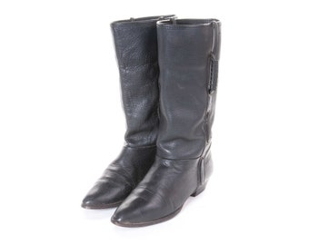 1980's Women's Black Boot Size 6