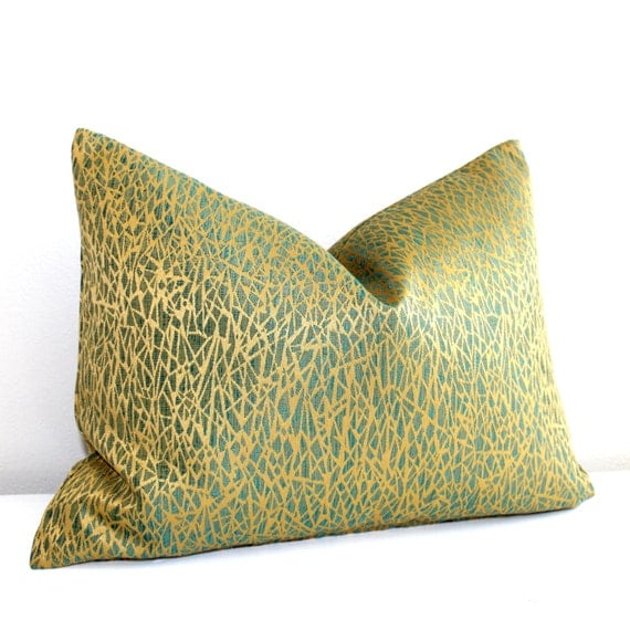 teal and gold pillows