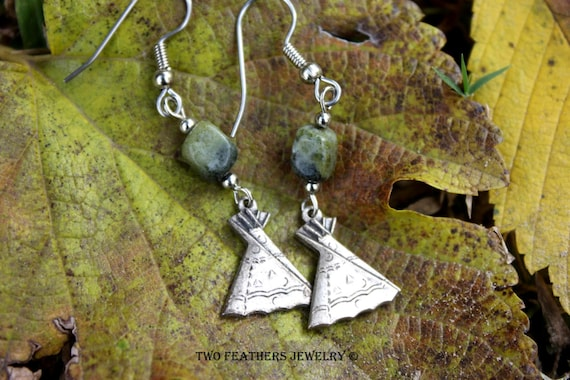 Yellow Turquoise Earrings - Teepee Earrings - Tipi Earrings - Native American Inspired - Gift For Her - Green And Silver