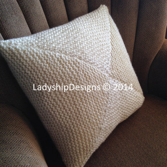 Knitting Pattern Envelope Cushion : Knit pillow cover pattern, PDF KNITTING PATTERN, knitted cushion pattern, 18&...