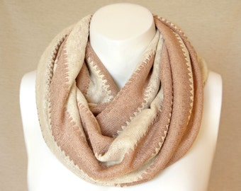 Cotton Jersey Scarf Striped Infinity Scarf Spring Scarf Shabby Chic Fashion Accessories