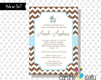Printable Chevron Stripes Baby Carriage Elegant Pink, Purple, Blue or Green Baby Shower invitation - Digital File