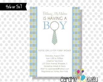 Printable Little Man Tie Necktie Baby Boy Baby Shower Invitation- Digital File
