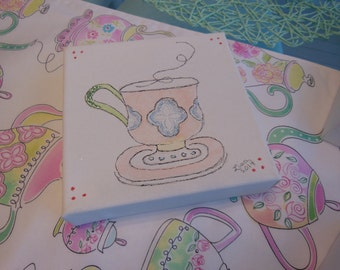 15% Sale Discount Price - Teacups Canvas Art, Set Of Two ~~ Whimsical Design * Pink, Lime Green, Emerald Green and Blue  ~~ Glitter Accent