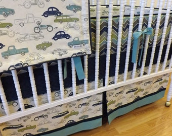 Boy Crib Bedding- Retro Cars Baby Bedding- MADE TO ORDER- 4 pc Retro Rides Bedding Set--Car Bedding