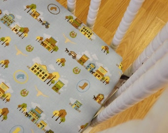 Crib Sheet- Baby Sheet- READY to SHIP- Cotton Crib Sheet- Boy Crib Sheet- Cowboy Crib Sheet