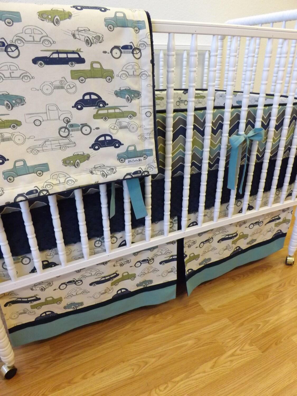 Boy Crib Bedding Retro Cars Baby Bedding MADE TO ORDER 4 pc