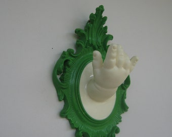 Halloween Green Vintage doll hand wall hook/ display