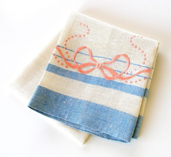 Vintage Kitchen Towel Hand Embroidered Dish Towel By