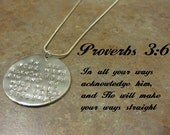 bible verse necklace, personalized necklace, proverbs 3:6 necklace,Christian necklace,Christian jewelry,religious necklace, stamped necklace
