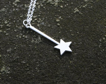 Wishing Wand Necklace, Silver Tone Magic Wand Necklace Long Chain