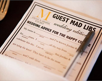 250 Wedding Printed Mad Libs a fun Guest Book Alternative