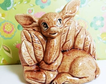 Doe Eyed Deer In the Forest Planter - Vintage Home Decor - Brown speckled glaze - 1960's