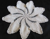 "Antique Ivory Crocheted Doily 12"" Inches"