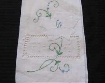 Vintage Embroidered White Cotton Linen Kitchen Hand Towel