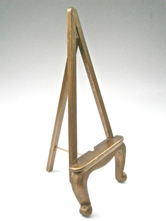 Vintage Gold Tone Paint Easel Cabriole Leg Stand Artwork