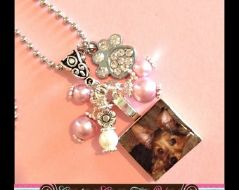 CUSTOM Photo Scrabble Tile Pendant Necklace With Beads And Paw Charm
