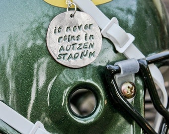 It Never Rains in AUTZEN STADIUM Necklace Oregon Ducks Football Hand Stamped Quarter Pendant Sterling Silver Plated Chain Free Shipping!!!