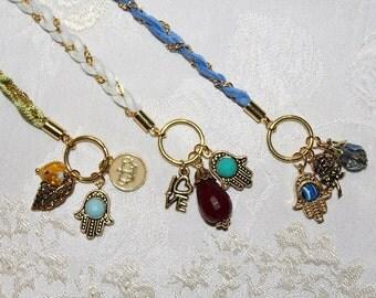 Wrap Charm Bracelet with Hamsa, Evil Eye jewelry, wrapped, wrapping, wrist wrap, charm bracelet