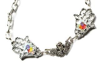 Hamsa bracelet, Silver hamsa bracelet, evil eye bracelet, hamsa charm bracelet